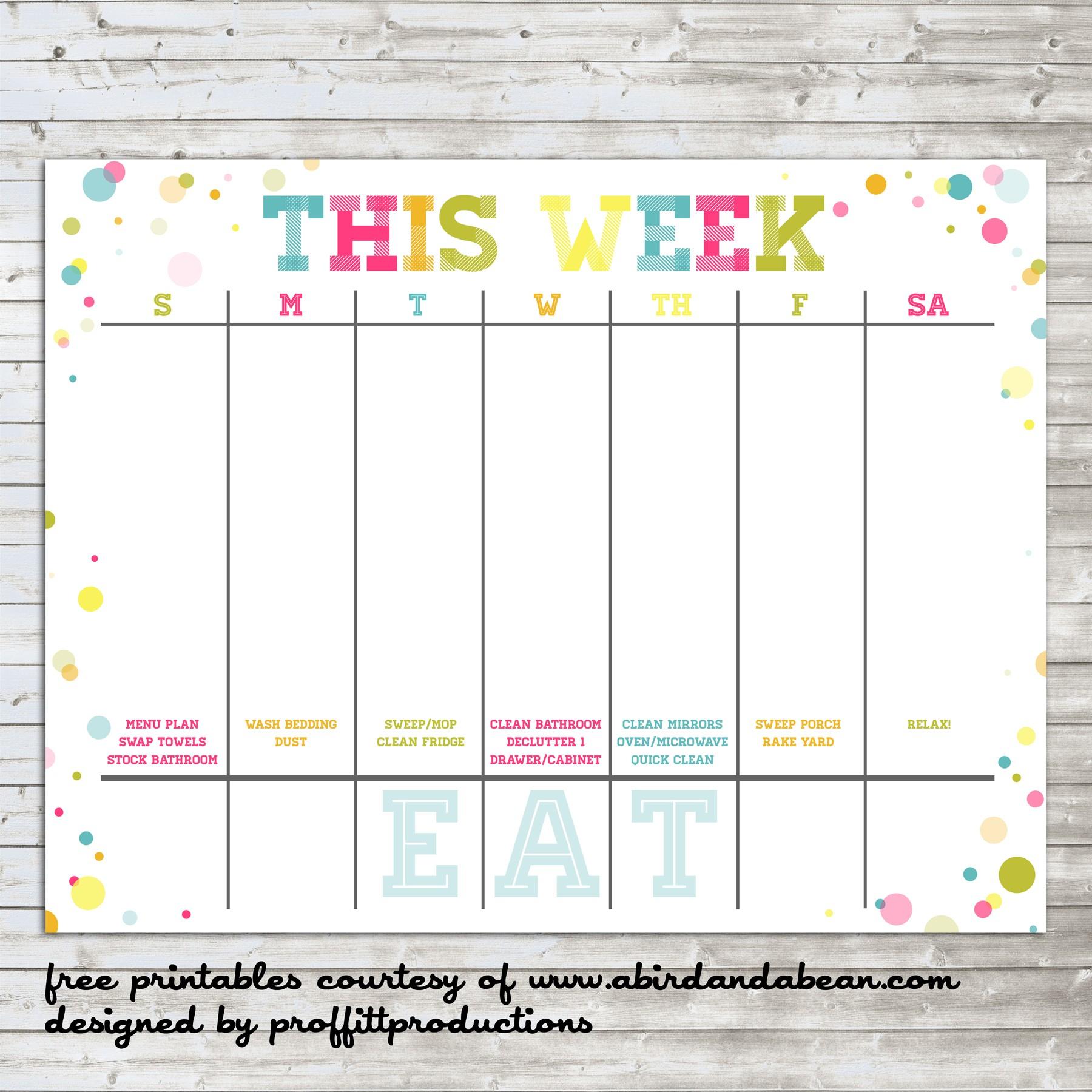 Free Weekly Printable Calendars