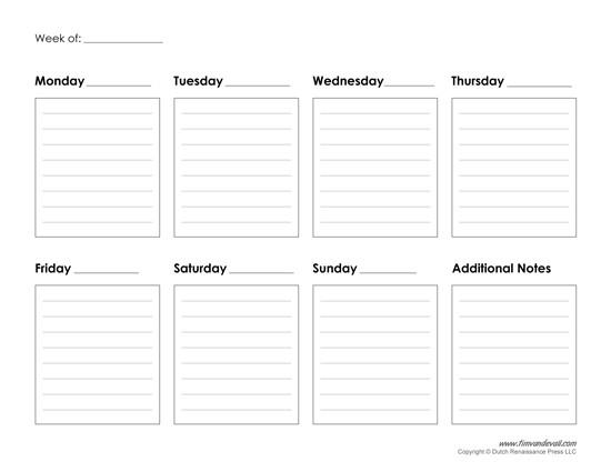 Free Weekly Printable Calendars Printable Weekly Calendar Template Free Blank Pdf