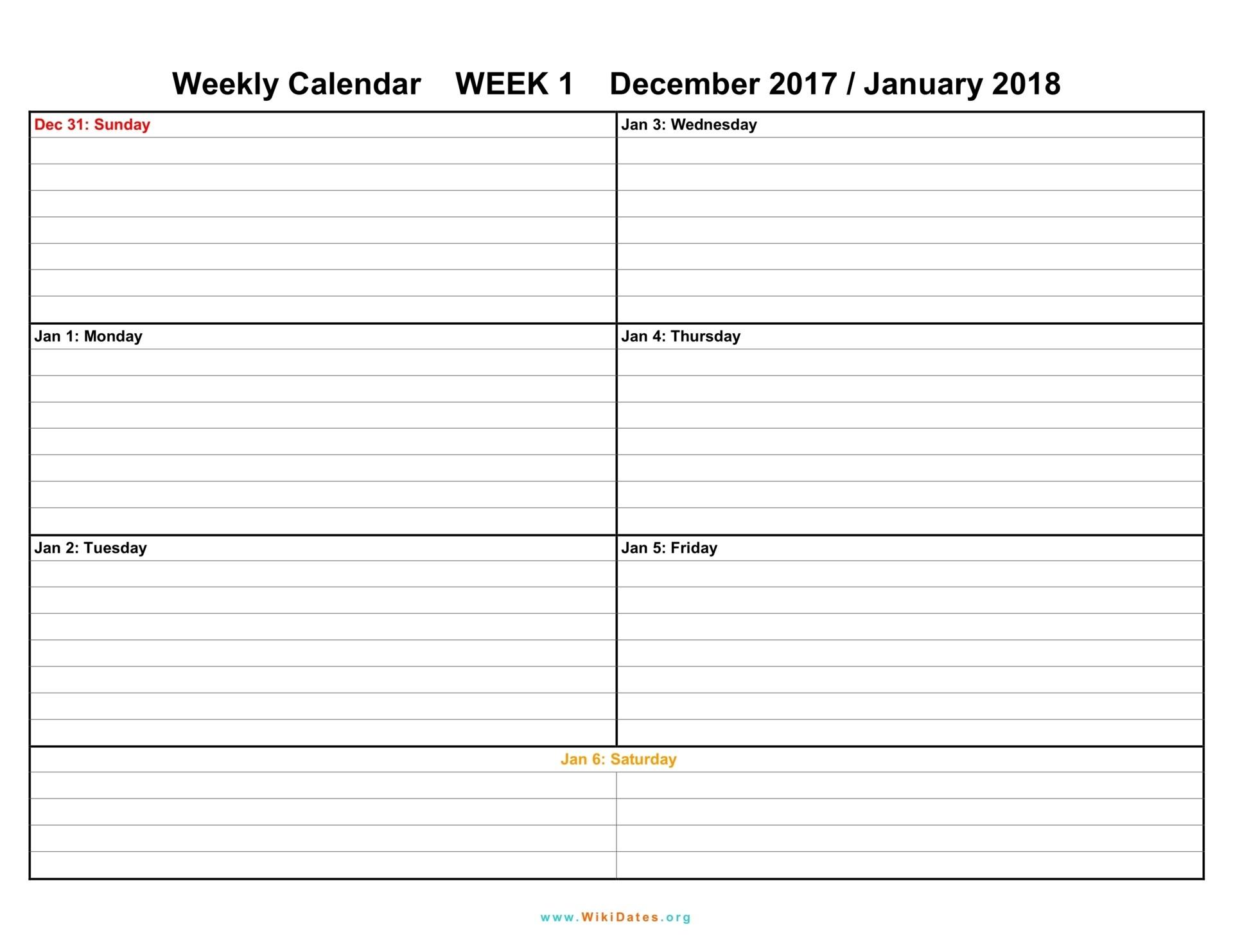 Free Weekly Printable Calendars Weekly Calendar Download Weekly Calendar 2017 and 2018