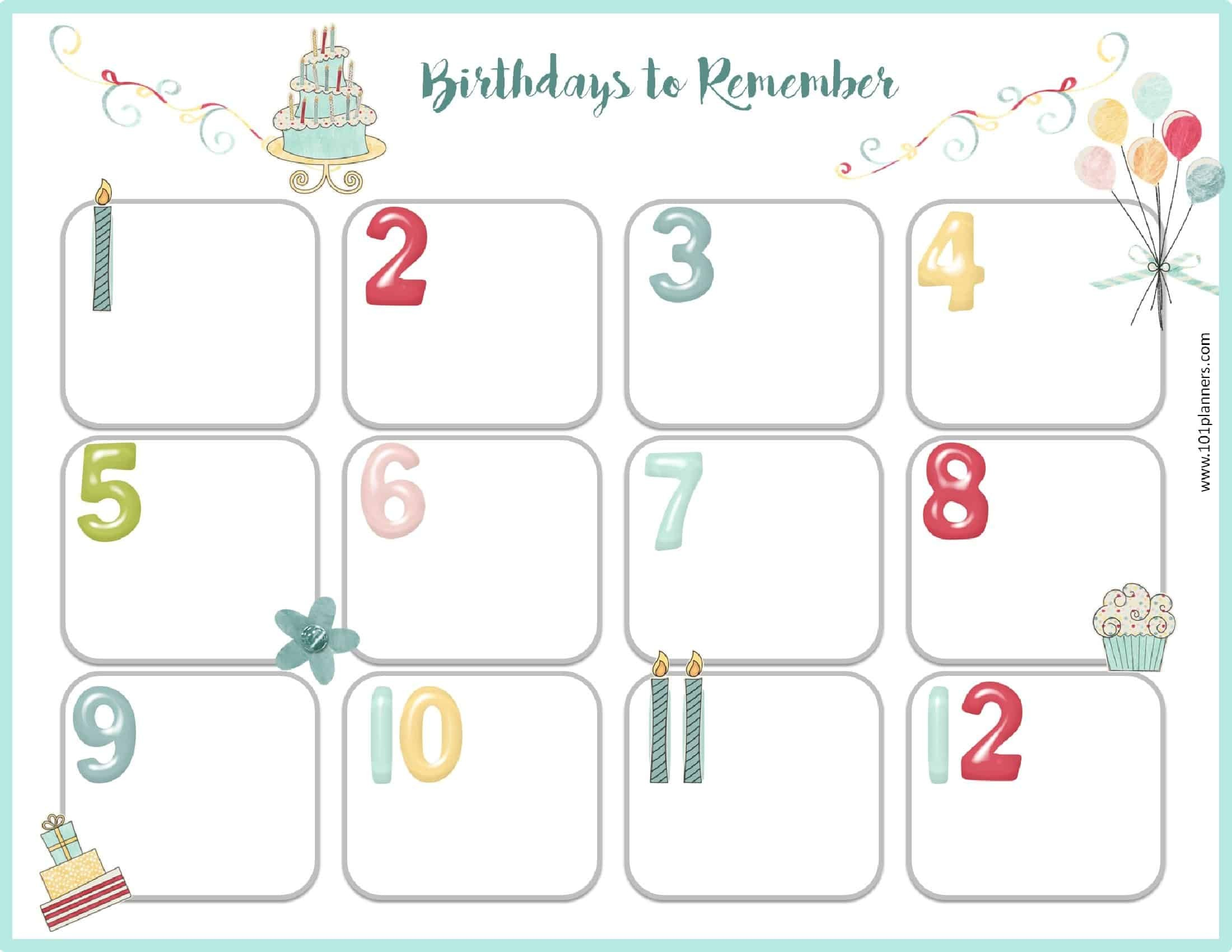 Happy Birthday Calendar Printables Free Birthday Calendar