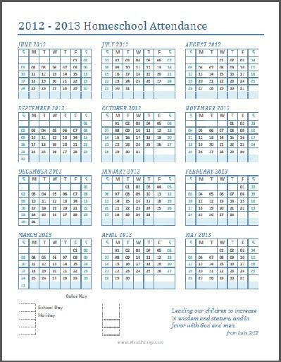 Homeschool Calendar Printable Free Printable Homeschool attendance Calendar Meet Penny