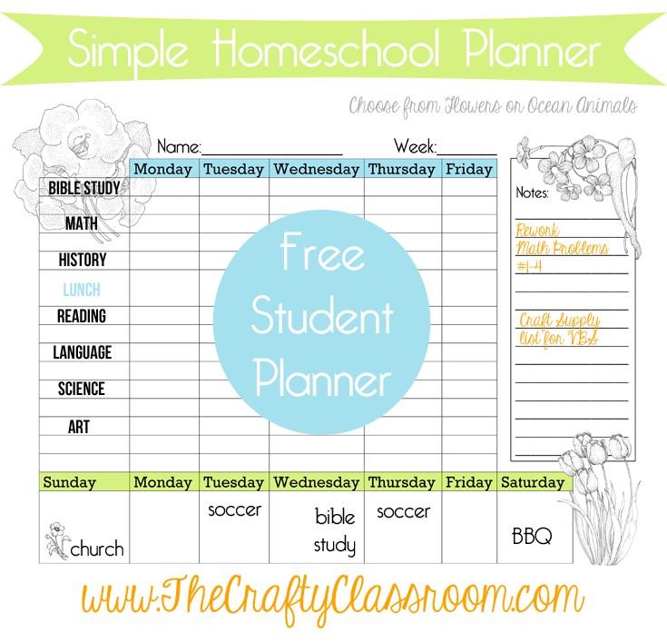 Homeschool Calendar Printable Free Weekly Homeschool Student Calendar