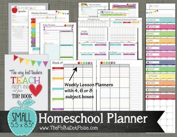 Homeschool Calendar Printable Homeschool Planner Printable Set Sized by Polkadotposieprint