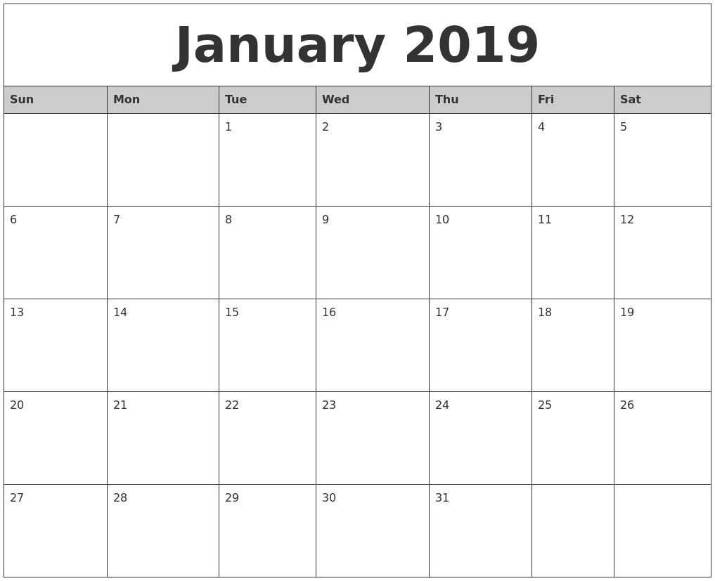 January 2019 Calendar Printable Pdf