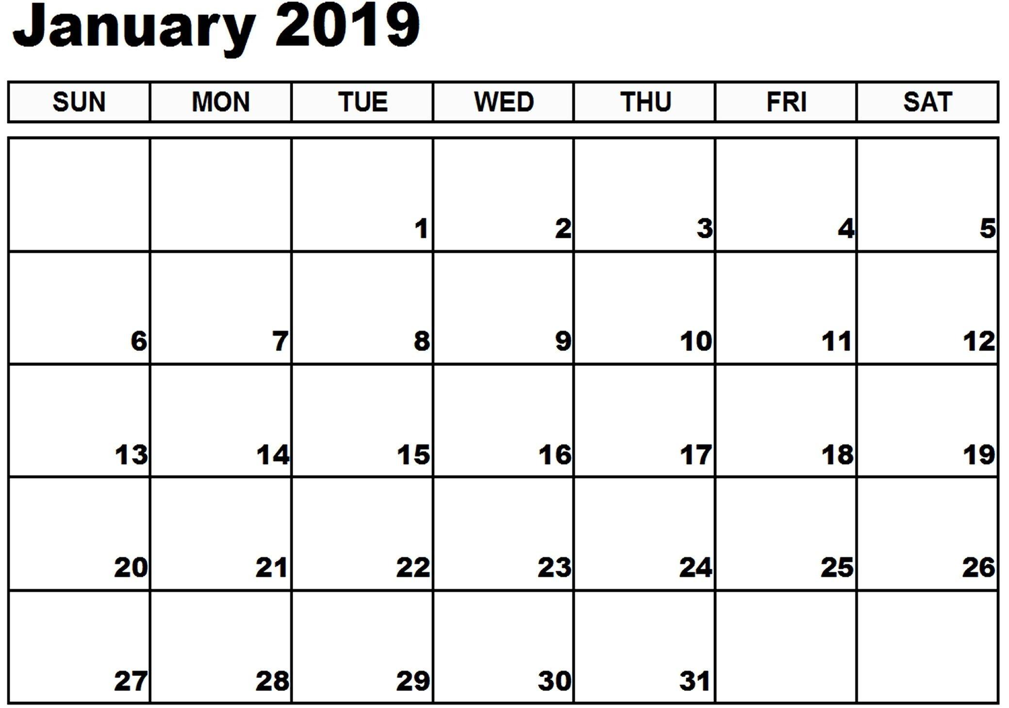 January 2019 Calendar Printable Pdf January 2019 Calendar Xls Printable Calendar