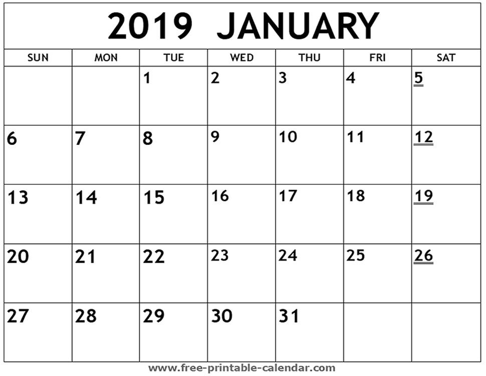 January 2019 Calendar Printable Pdf Printable 2019 January Calendar
