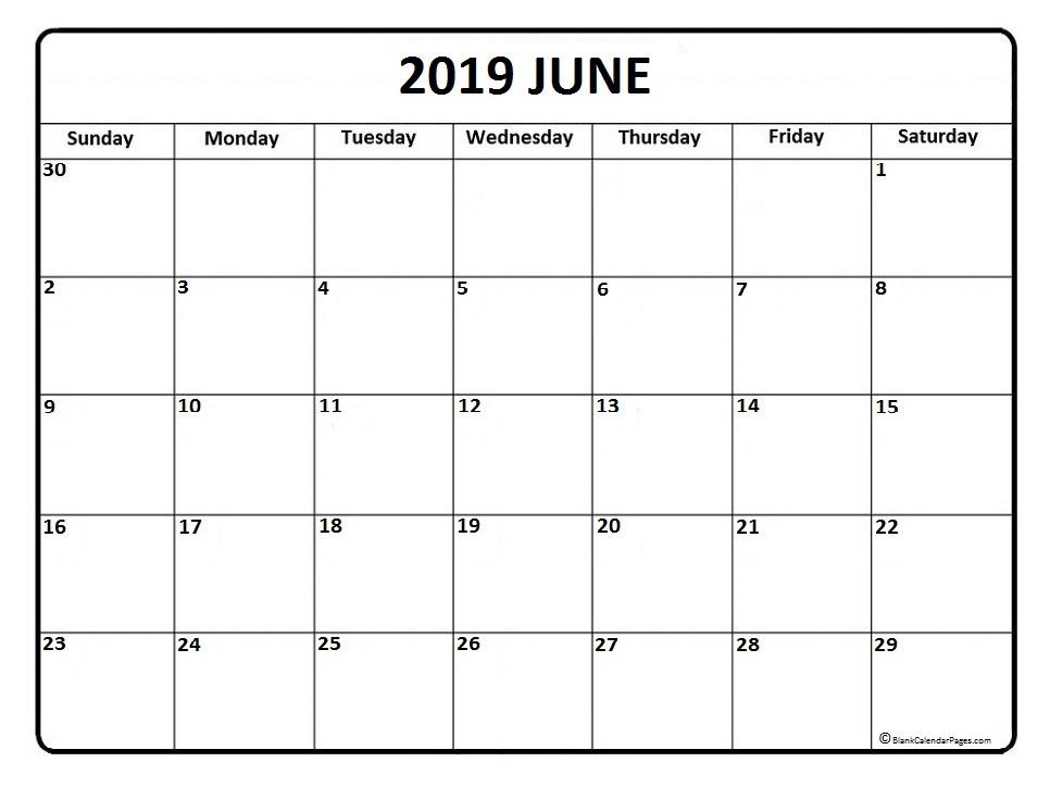 June 2019 Printable Calendar June 2019 Calendar