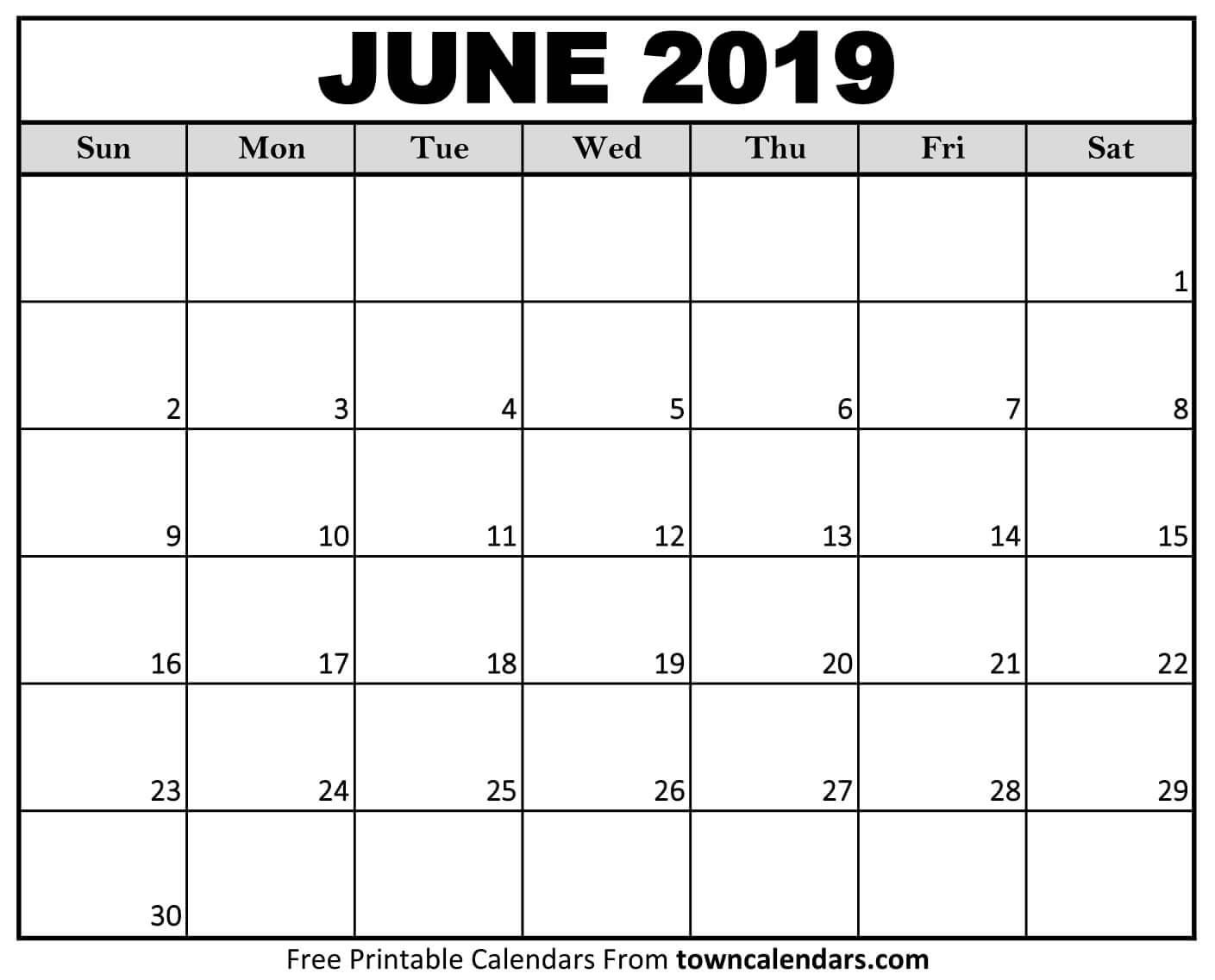 June 2019 Printable Calendar Printable June 2019 Calendar towncalendars
