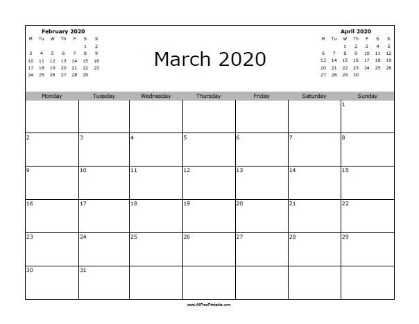 March 2020 Calendar Printable March 2020 Calendar Free Printable Allfreeprintable