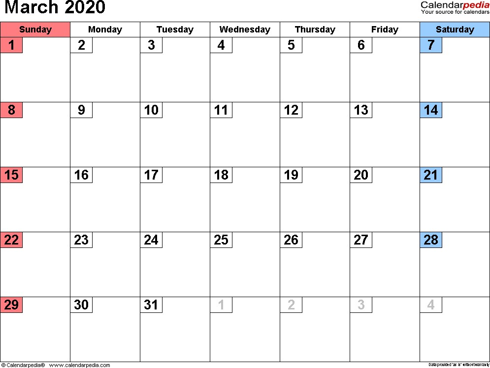 March 2020 Calendars for Word Excel & PDF