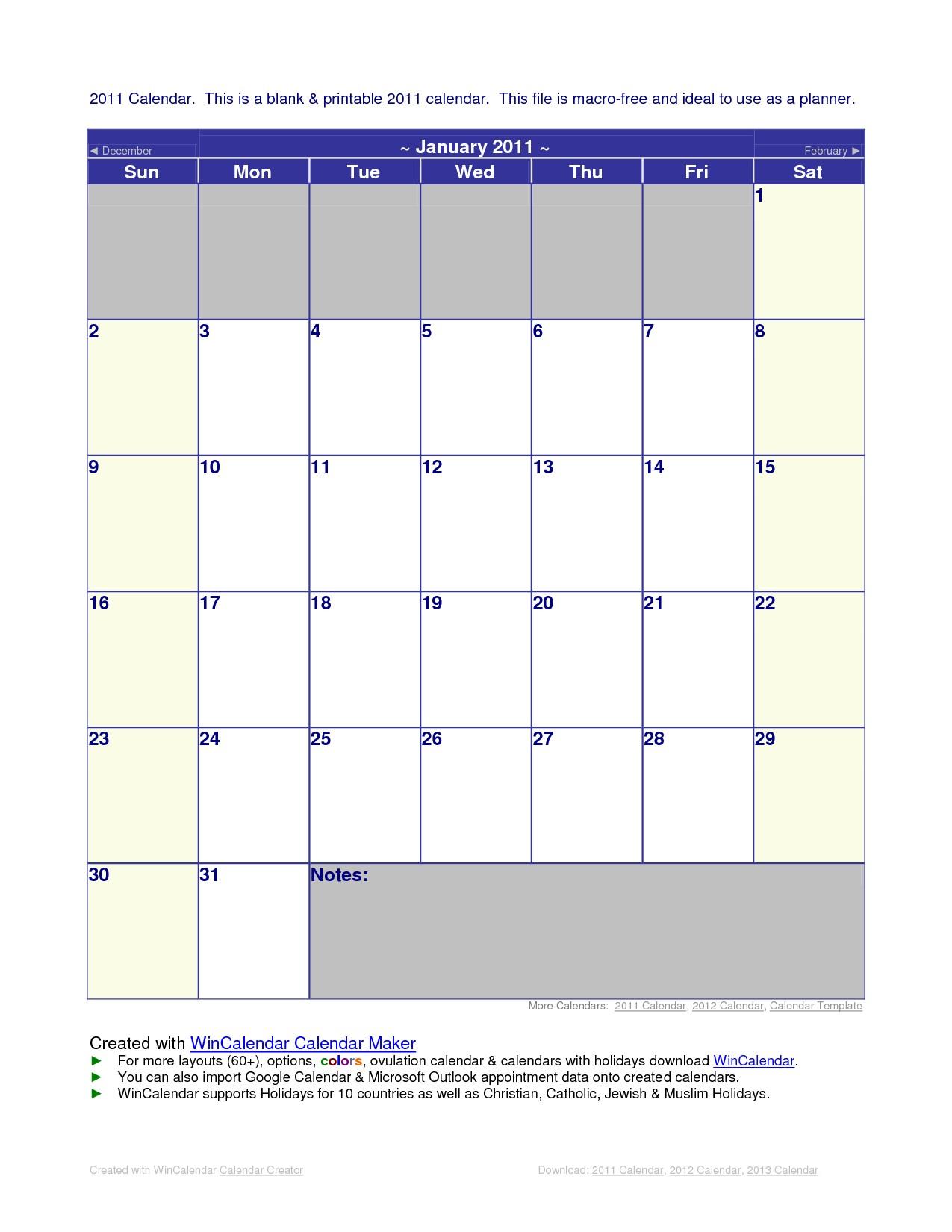 2011 Microsoft fice Calendar