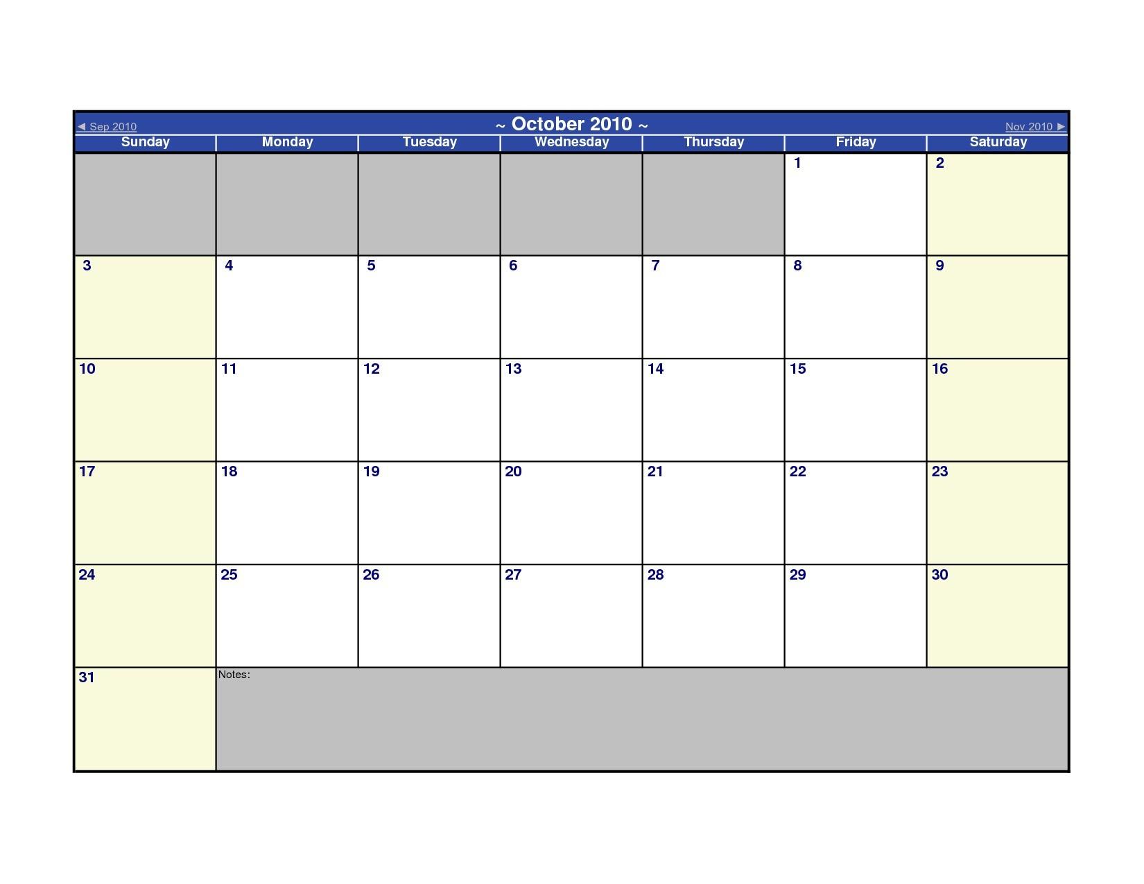 Microsoft Calendar Templates
