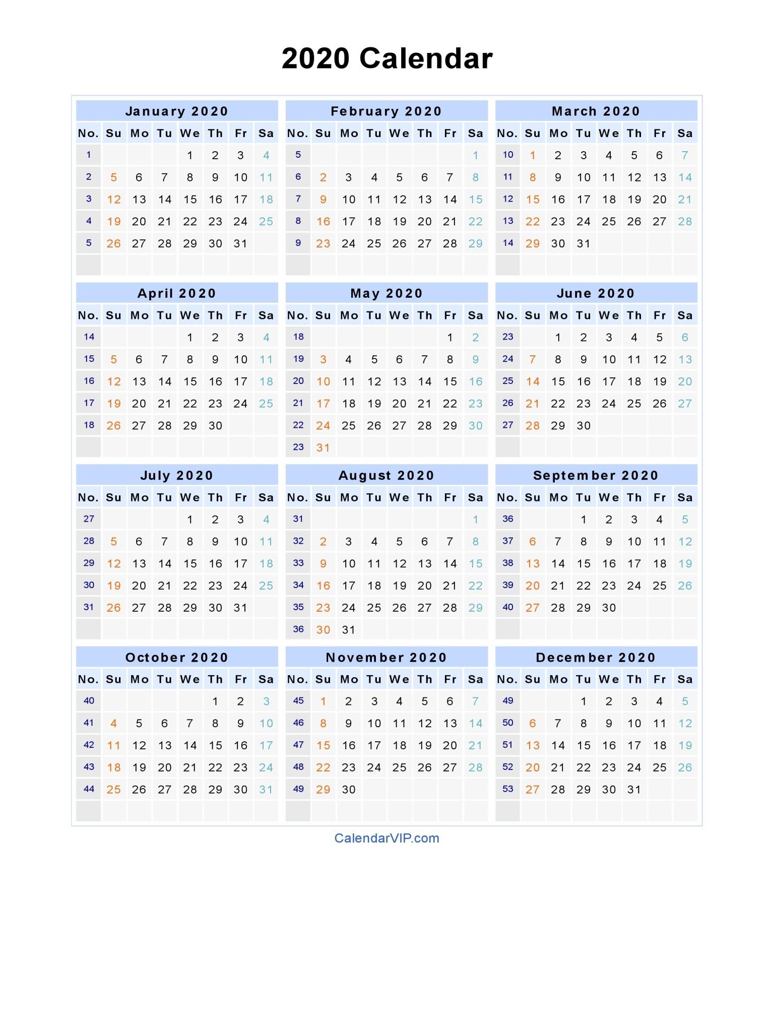 2020 Calendar Blank Printable Calendar Template in PDF