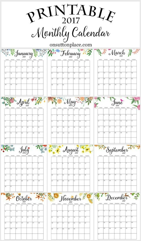 2017 Free Printable Monthly Calendar Sutton Place