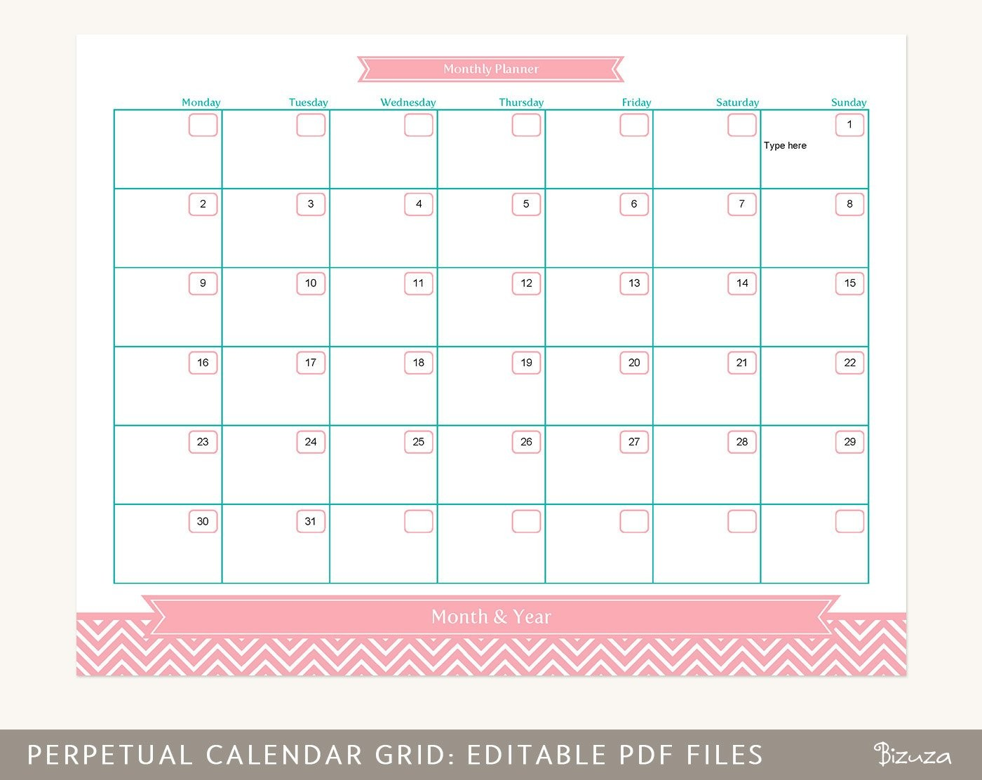 Month at A Glance Calendar Printable Calendar Planner Grid Month at A Glance Printable Editable
