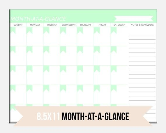 Items similar to MONTHLY Planner Printable Month at a