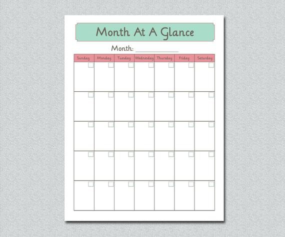 Month at A Glance Calendar Printable Unavailable Listing On Etsy