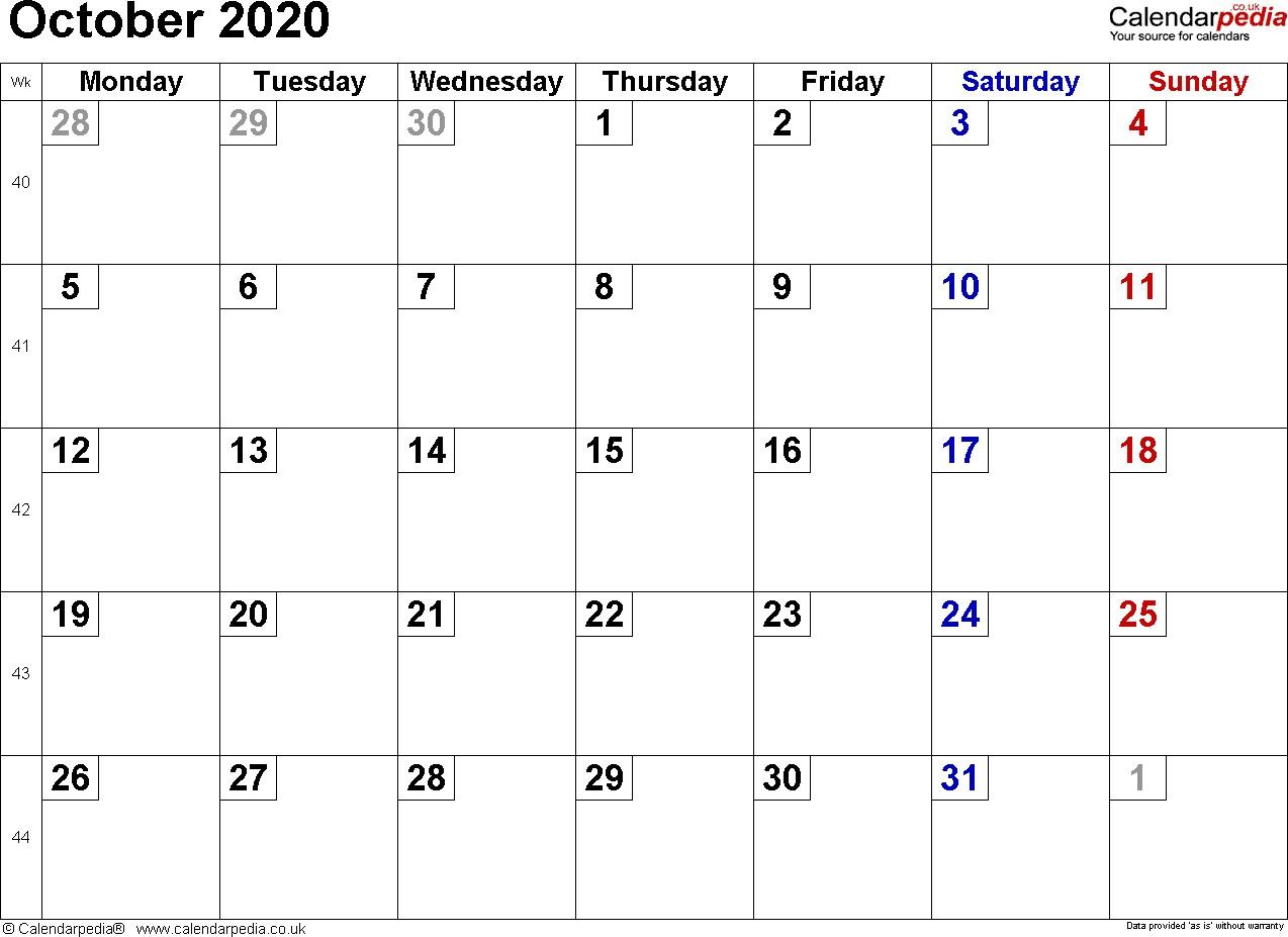 Calendar October 2020 UK Bank Holidays Excel PDF Word