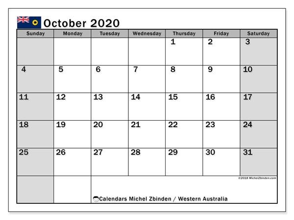 October 2020 Calendar with Holidays Printable Calendar October 2020 Western Australia Michel Zbinden En