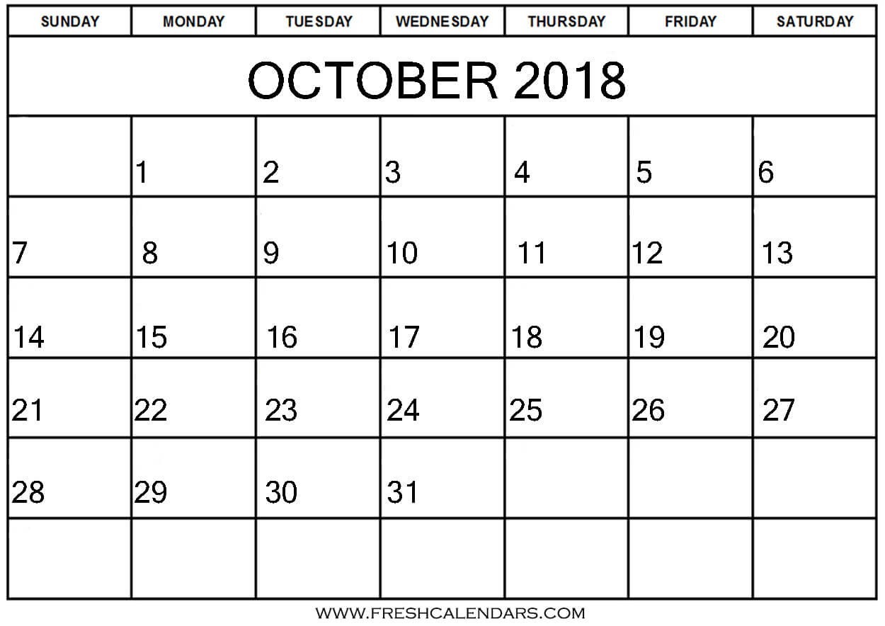 Online Free Printable Calendar Blank October 2018 Calendar Printable Templates