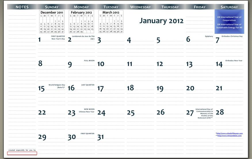Printable 11x17 Calendar 2012 11×17 Printable Wall Calendar – Pdf format