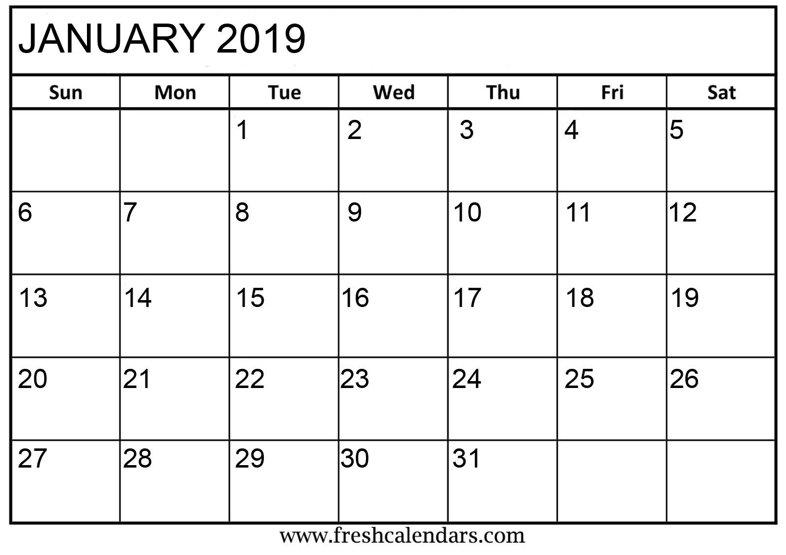Printable 2019 Calendar January Blank January 2019 Calendar Printable Templates