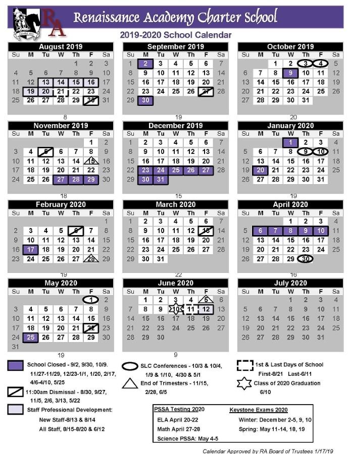 Printable 2019 2020 School Calendar Renaissance Academy