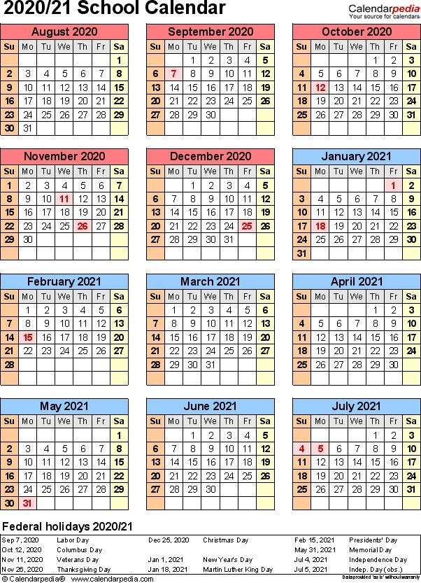 School calendars 2020 2021 as free printable Excel templates