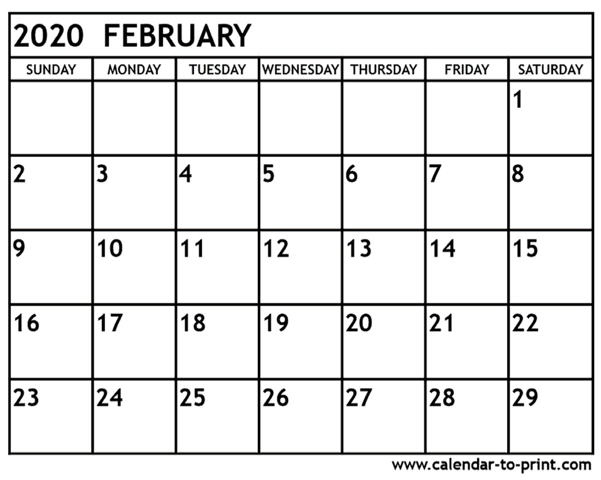 Printable 2020 February Calendar