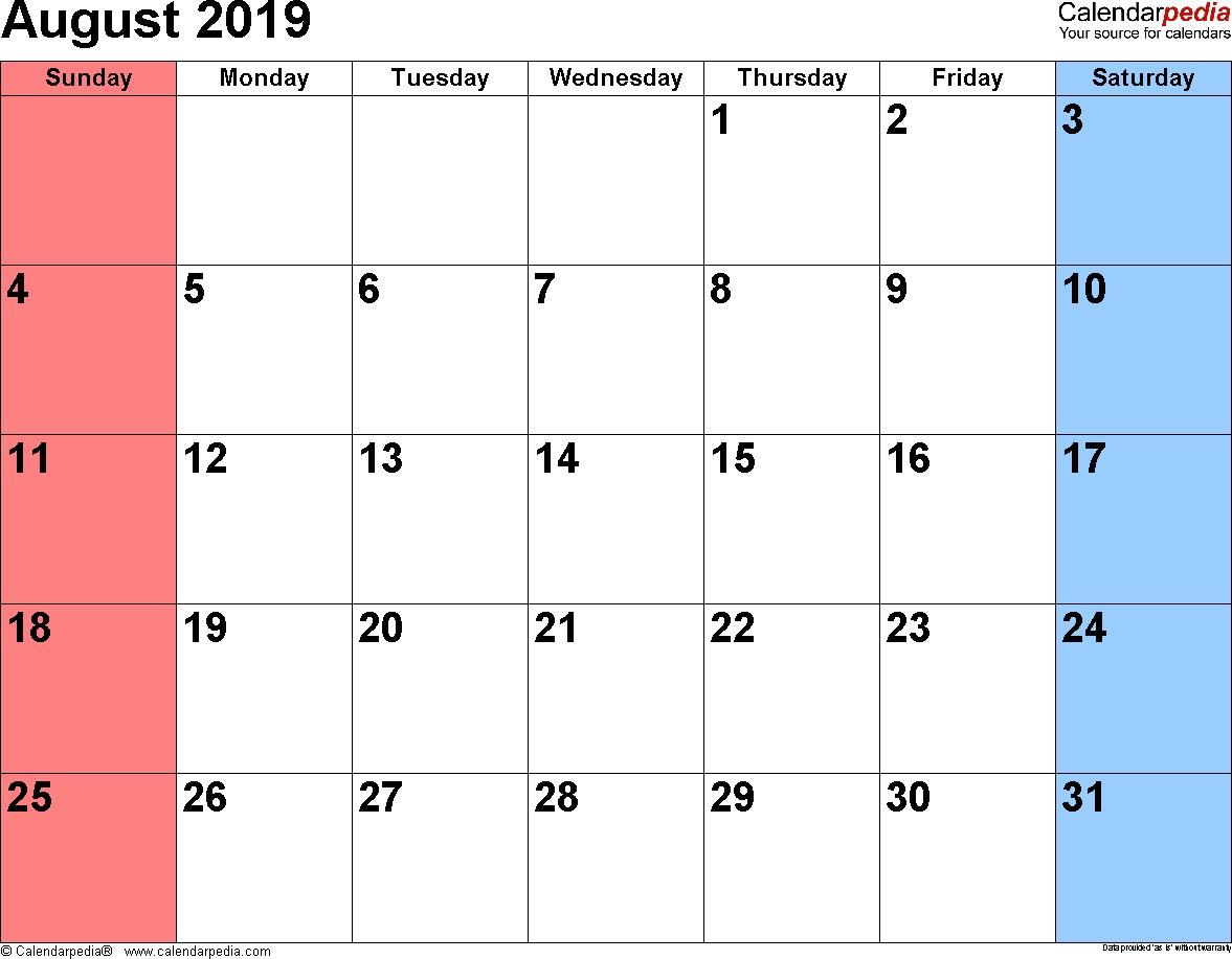 Printable August 2019 Calendar August 2019 Calendars for Word Excel & Pdf