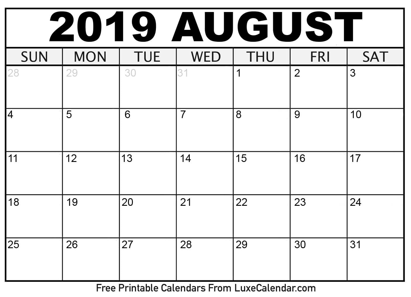 Blank August 2019 Printable Calendar Luxe Calendar