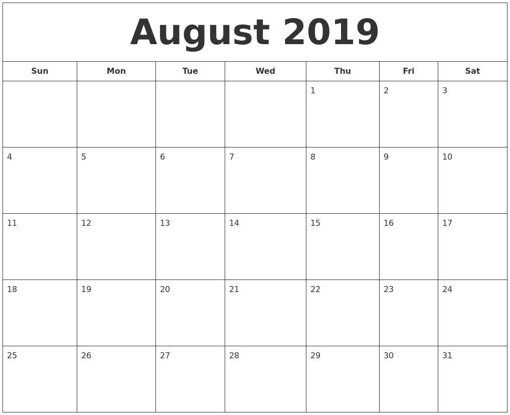 Printable August 2019 Calendar July 2019 Calendar