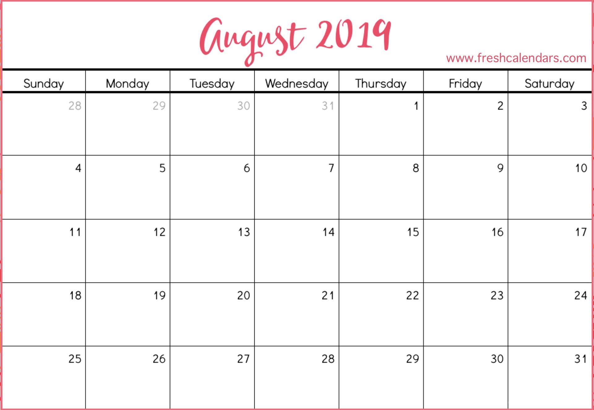 Printable August 2019 Calendar Printable August 2019 Calendar Fresh Calendars