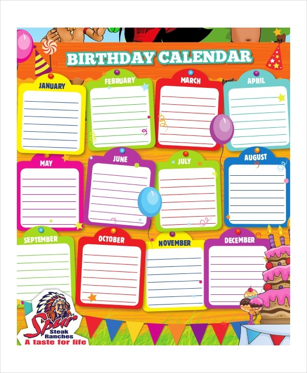 Birthday Calendar 11 Free Word PDF PSD Documents