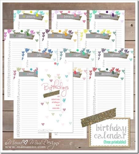 Printable Birthday Calendars Birthday Calendar Custom Designed Free Printable by Mama