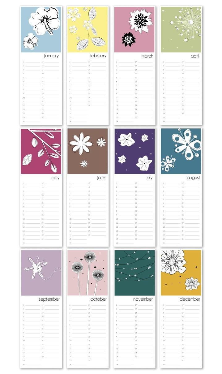 Birthday Calendar Flowers printable PDF