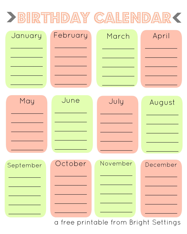 Free Printable Birthday Calendar The Bright Ideas Blog