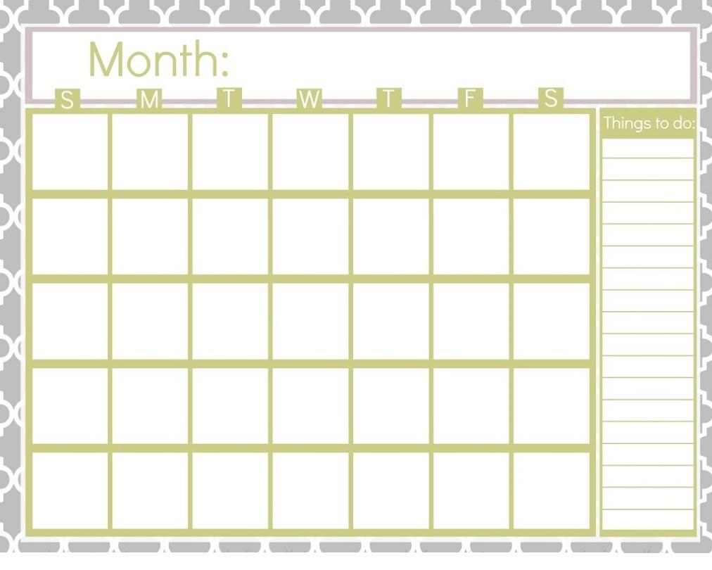 Printable Blank Calendar Pages Printable Blank Calendar Pages
