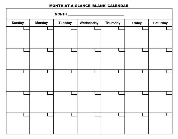 Printable Blank Calendar Pages