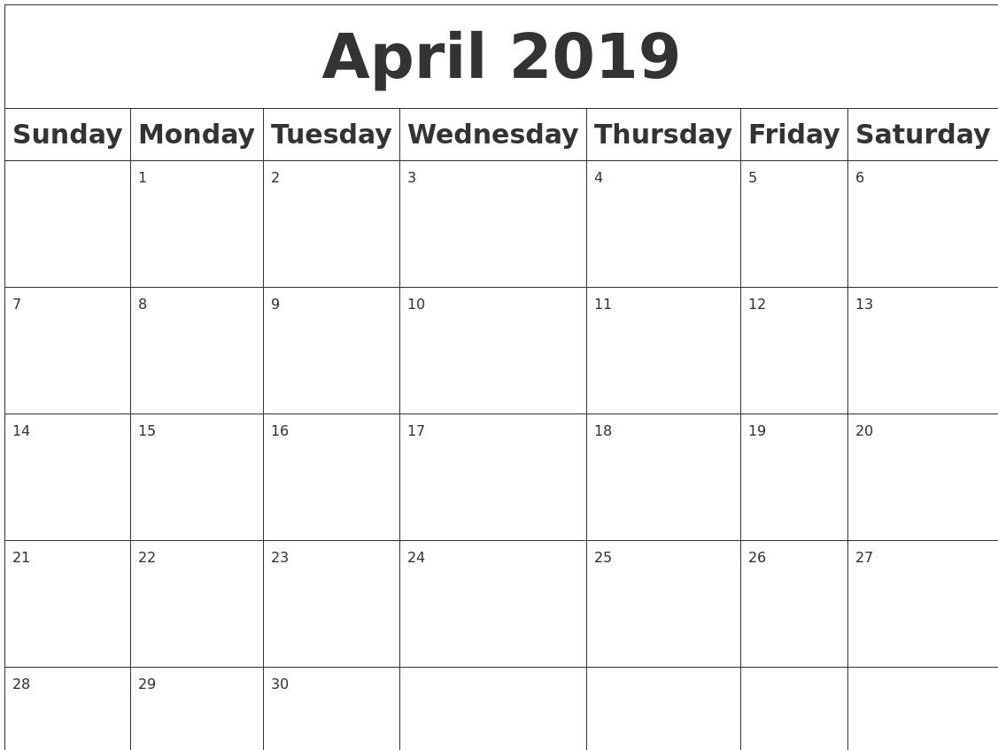 Printable Blank Calendars 2019 April 2019 Blank Calendar