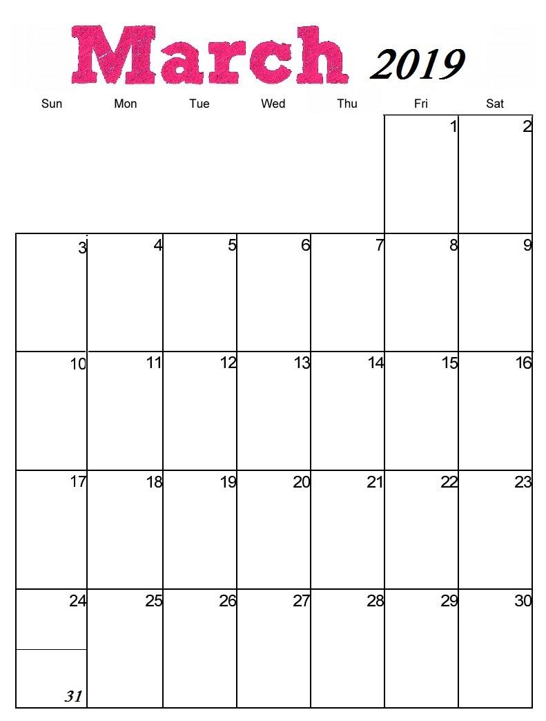 Printable Blank Calendars 2019 Blank Calendar March 2019 Pdf Printable Template