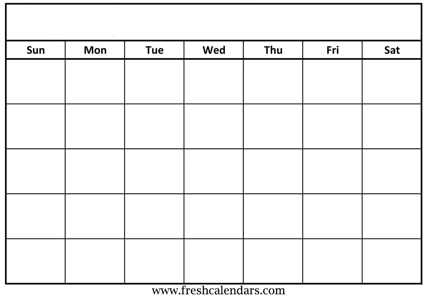 Printable Blank Calendars 2019