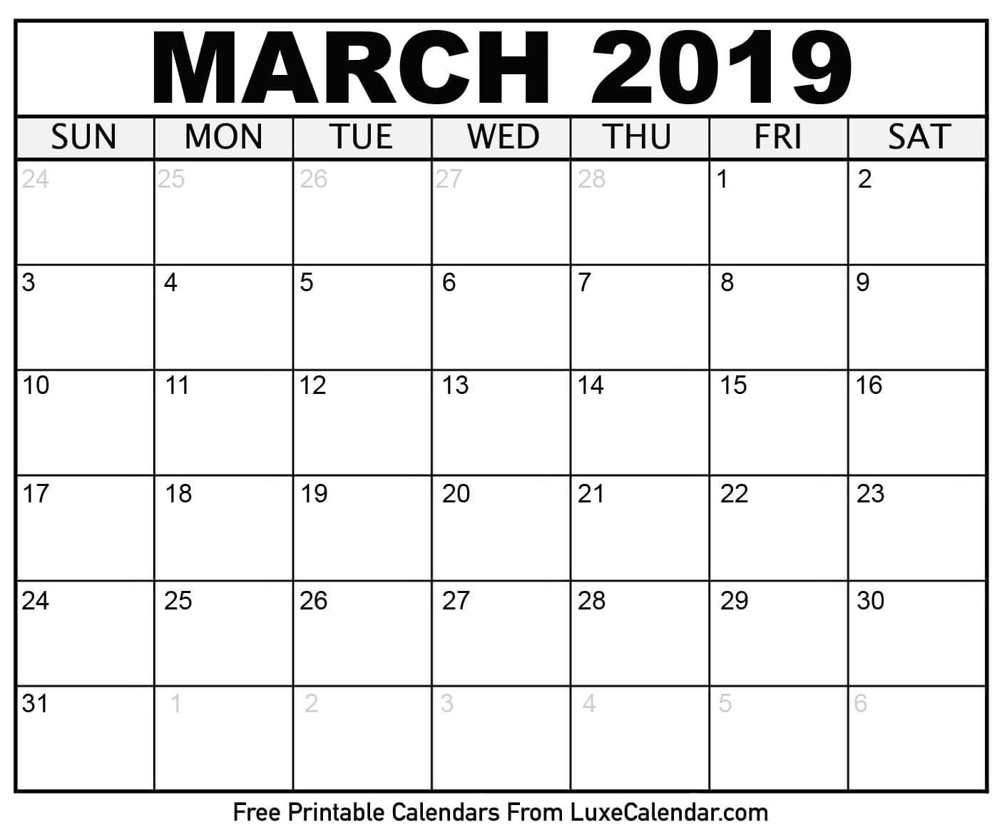 Blank March 2019 Printable Calendar Luxe Calendar