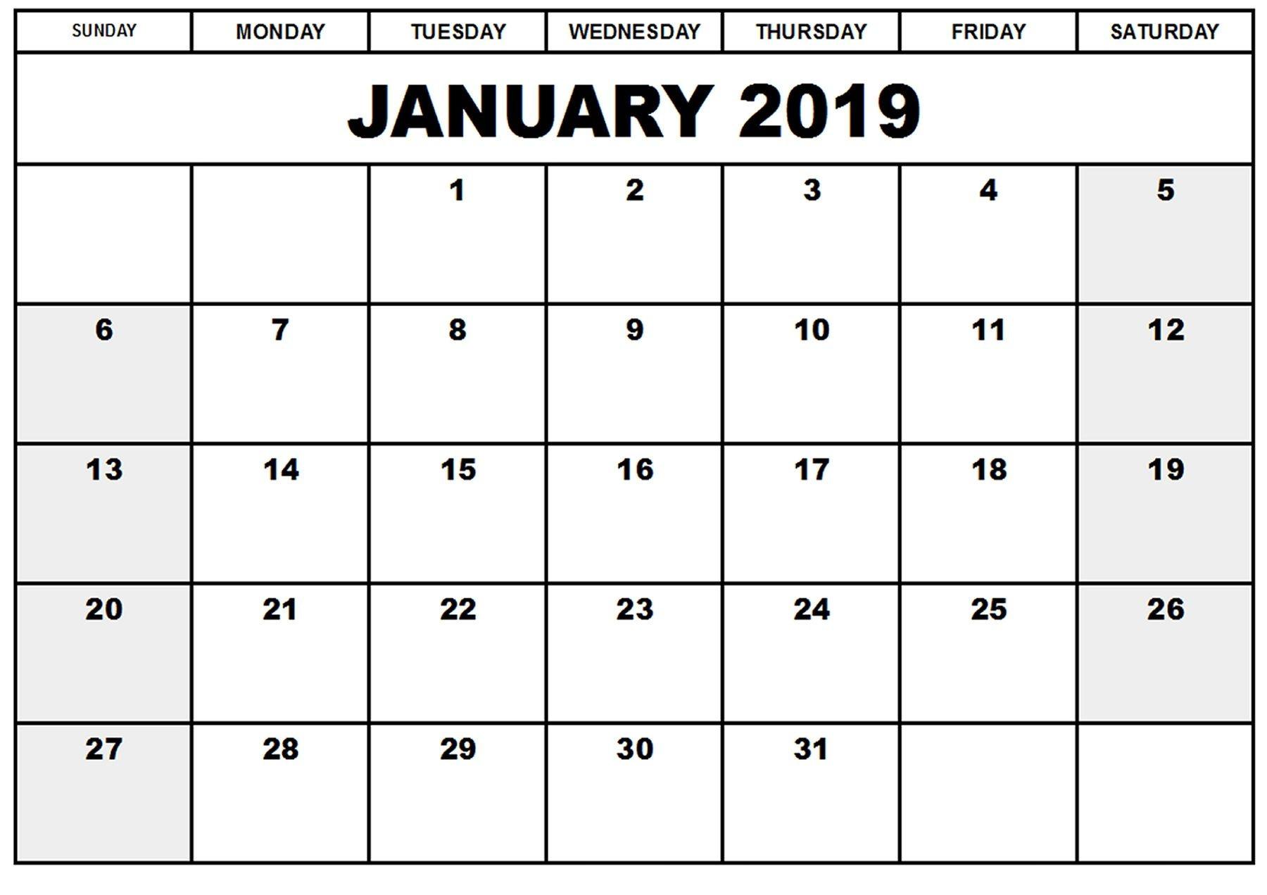 Printable Blank Calendars 2019 Blank Printable Calendar January 2019