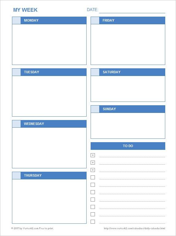 Printable Blank Daily Calendar Daily Calendar Free Printable Daily Calendars for Excel