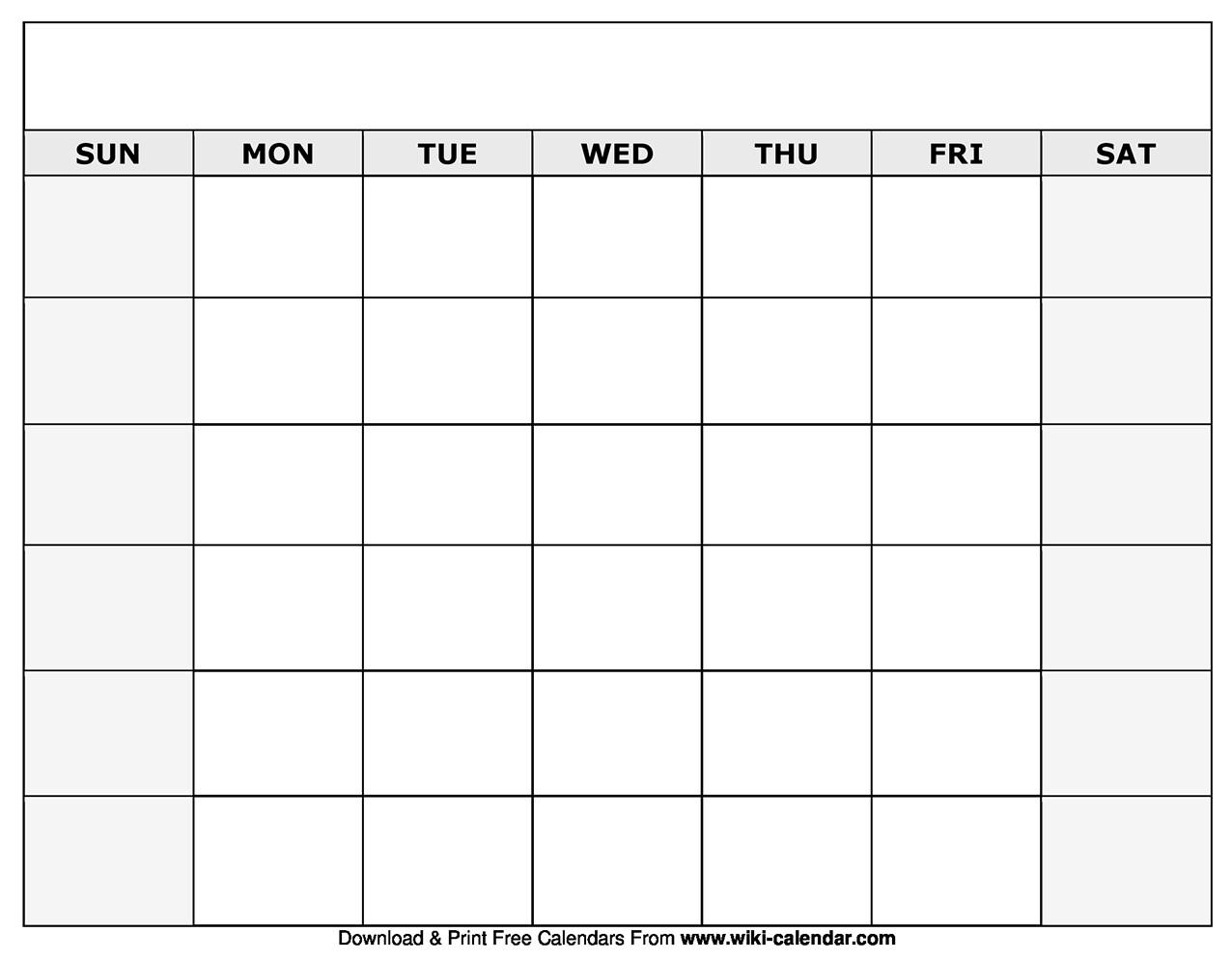 Printable Blank Monthly Calendar