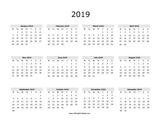 2019 Calendar Word