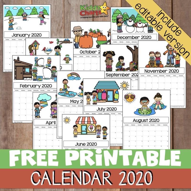 Printable Calendar 2020 for Kids Free Printable 2020 Calendar for Kids Including An
