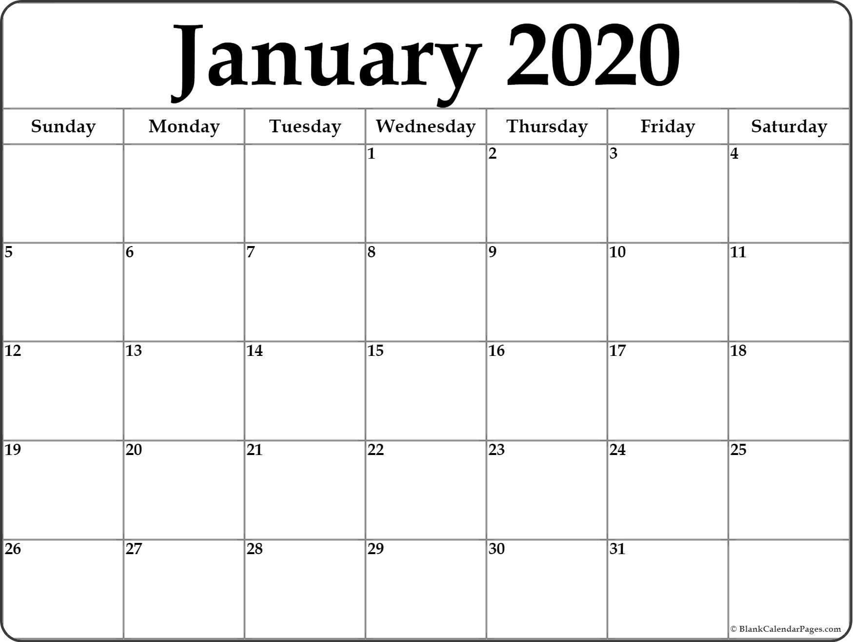 Printable Calendar 2020 Monthly January 2020 Blank Calendar Collection