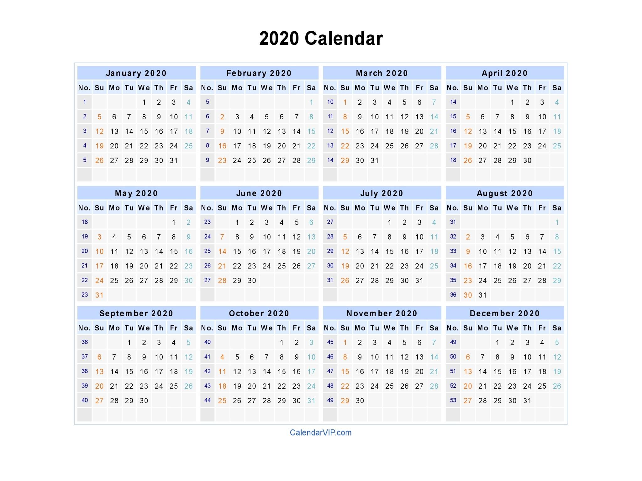 Printable Calendar 2020 Weekly 2020 Calendar Blank Printable Calendar Template In Pdf